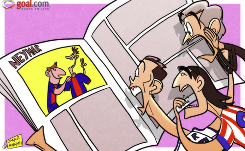 Cartoon: Neymar Barca link (medium) by omomani tagged real,neymar,mourinho,messi,liga,la,falcao,ronaldo,cristiano,barcelona,madrid,atletico