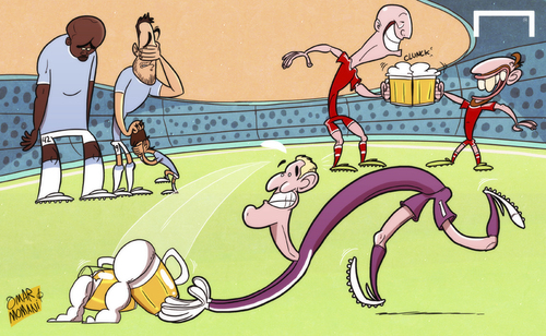 Cartoon: Oktoberfest Bayern celebrate (medium) by omomani tagged alvaro,negredo,arjen,robben,bayern,munich,beer,champions,league,david,silva,hart,manchester,city,oktoberfest,ribery,yaya,toure