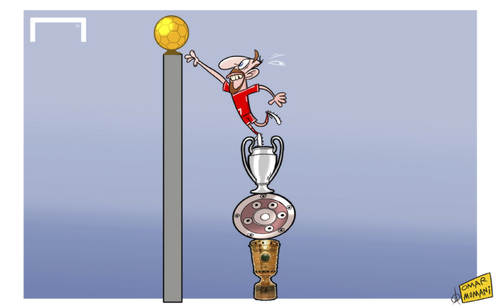 Cartoon: Ribery stacks up the silverware (medium) by omomani tagged bayern,munich,bundesliga,champions,league,dfb,pokal,fifa,ballon,dor,ribery