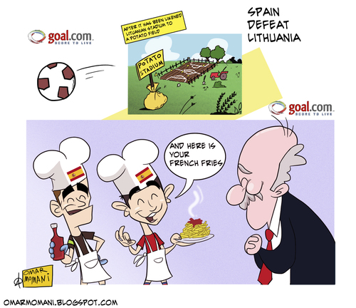 Cartoon: Spain and the potato field (medium) by omomani tagged xavi,casillas,del,bosque,spain,real,madird,barcelona,potato,lithuania