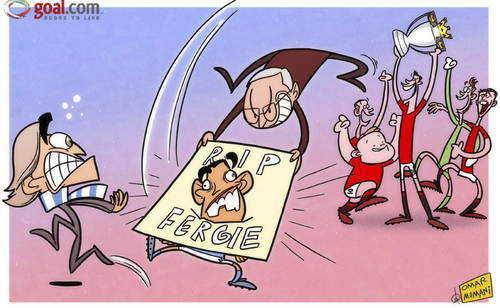 Cartoon: Take that Tevez (medium) by omomani tagged de,gea,ferguson,manchester,city,united,mancini,michael,carrick,premier,league,rooney,ryan,giggs,tevez,van,persie