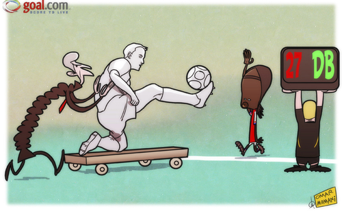 Cartoon: Wenger new Plan B as Bergkamp (medium) by omomani tagged arsenal,wenger,gervinho,dennis,bergkamp