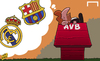 Cartoon: AVB has Barca on the brain (small) by omomani tagged barcelona,real,madrid,villas,boas
