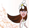 Cartoon: Flora (small) by omomani tagged flora flower woman girl white lip blue eyes hair long