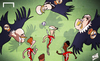 Cartoon: Real vultures close in on Suarez (small) by omomani tagged zinedine,zidane,perez,ancelotti,suarez,daniel,sturridge,steven,gerrard,real,madrid,liverpool