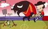 Cartoon: Running scared (small) by omomani tagged confederations,cup,iniesta,nigeria,spain,tahiti