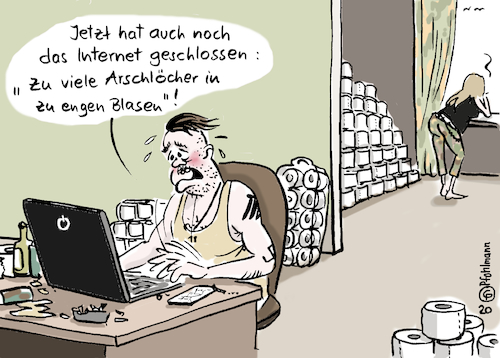 Cartoon: Internet geschlossen (medium) by Pfohlmann tagged 2020,global,welt,deutschland,corona,virus,coronavirus,epidemie,pandemie,internet,schließung,www,filterblasen,arschlöcher,quarantäne,troll,hetze,facebook,social,media,plattformen,youtube,2020,global,welt,deutschland,corona,virus,coronavirus,epidemie,pandemie,internet,schließung,www,filterblasen,arschlöcher,quarantäne,troll,hetze,facebook,social,media,plattformen,youtube