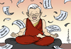 Cartoon: Koch wartet ab (small) by Pfohlmann tagged koch,cdu,hessen,roland,ministerpräsident,rücktritt,rückzug,abschied,buddha,buddhismus,dalai,lama,meditation,job,arbeit