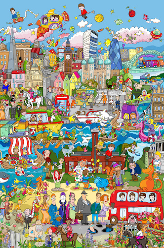 Cartoon: London Wimmelbild (medium) by sabine voigt tagged london,wimmelbild,brexit,buckingham,tower,pauls,nelson,big,ben,potter,beatles,holmes,twist,dickens,paddington,londinum,themse,tate,bulldog