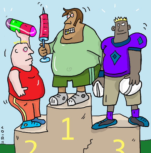 Cartoon: sport doping (medium) by sabine voigt tagged sport,doping,sportler,olympia,drogen,spitzensport,medicamenten,medicijn
