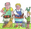 Cartoon: grillen grill (small) by sabine voigt tagged grillen,grill,sommer,hitze,feiern,party,wurst,essen