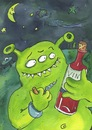 Cartoon: wein Alkohol alien (small) by sabine voigt tagged wein,alkohol,alien,rotwein,weltraum,all,universum