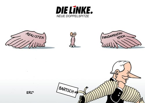 Cartoon: Die Linke Neue Doppelspitze (medium) by Erl tagged die,linke,linkspartei,partei,vorsitz,doppelspitze,kipping,riexinger,flügel,realisten,fundamentalisten,oskar,lafontaine,dietmar,bartsch,zerwürfnis,streit,kandidatur,linke,partei,parteitag,göttingen,gysi,lafontaine,bartsch,kipping,riexinger,wagenknecht