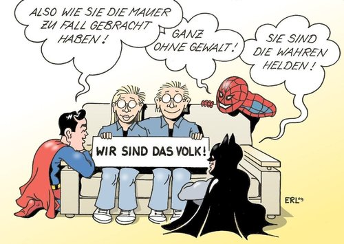 Cartoon: Helden (medium) by Erl tagged mauerfall,neunter,november,ddr,bürger,revolution,friedlich,helden,superhelden,superman,spiderman,batman,mauer,ddr,brd,berlin,mauerfall,neunter,november,ost,west,wiedervereinigung,superman,spiderman,batman,helden,held,volk,bürger,revolution,superhelden