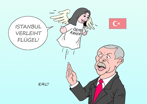 Cartoon: Istanbul (medium) by Erl tagged politik,türkei,kommunalwahlen,istanbul,sieger,chp,gegner,akp,präsident,erdogan,drängen,wahlwiederholung,test,demokratie,handpuppe,flügel,karikatur,erl,politik,türkei,kommunalwahlen,istanbul,sieger,chp,gegner,akp,präsident,erdogan,drängen,wahlwiederholung,test,demokratie,handpuppe,flügel,karikatur,erl