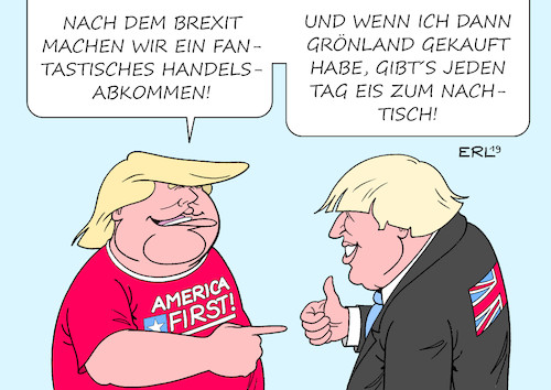 Cartoon: Schöne neue Welt (medium) by Erl tagged politik,usa,präsident,donald,trump,rechtspopulismus,nationalismus,america,first,absicht,kauf,grönland,eis,versprechen,großbritannien,gb,uk,handelsabkommen,brexit,nachtisch,premierminister,boris,johnson,karikatur,erl,politik,usa,präsident,donald,trump,rechtspopulismus,nationalismus,america,first,absicht,kauf,grönland,eis,versprechen,großbritannien,gb,uk,handelsabkommen,brexit,nachtisch,premierminister,boris,johnson,karikatur,erl
