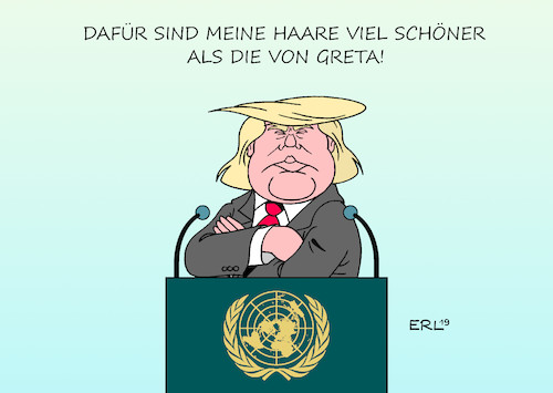 Cartoon: Trump UN (medium) by Erl tagged politik,klima,klimawandel,erderwärmung,klimaschutz,klimapolitik,klimagipfel,rede,greta,thunberg,fridays,for,future,usa,präsident,donald,trump,haare,karikatur,erl,politik,klima,klimawandel,erderwärmung,klimaschutz,klimapolitik,klimagipfel,rede,greta,thunberg,fridays,for,future,usa,präsident,donald,trump,haare,karikatur,erl