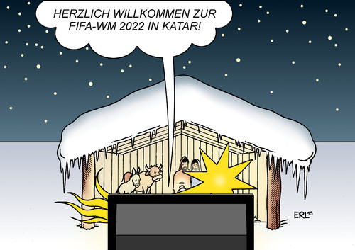 Cartoon: Winter-WM (medium) by Erl tagged fußball,weltmeisterschaft,wm,2022,katar,wüste,hitze,austragung,fifa,winter,geld,sport,korruption,gier,termin,problem,weihnachten,krippe,betlehem,jesus,maria,josef,ochse,esel,stern,stall,karikatur,erl,fußball,weltmeisterschaft,wm,2022,katar,wüste,hitze,austragung,fifa,winter,geld,sport,korruption,gier,termin,problem,weihnachten,krippe,betlehem,jesus,maria,josef,ochse,esel,stern,stall
