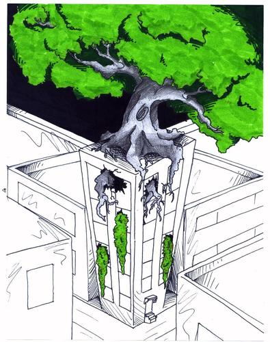 Cartoon: Urban Garden (medium) by robobenito tagged nature,city,urban,treehouse,tree,house,green,ecology,block,street,apartment,building,development,organization,leaves,branches,streets,night,growth,urbanization,greening,conscious,conscientiousness,planning,action,though