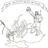 Cartoon: Adventurers (small) by robobenito tagged adventurers,space,spaceman,astronaut,fight,demon,hero,helmet,spider,giant,needle,kill,death,legs,arachnid,arana,banner,trouble,victory,celebration,monster,eyes,eight,blood