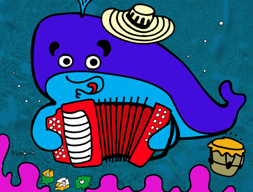 Cartoon: Ballenato (medium) by Munguia tagged colombia,vallenato,ballenato,ballena,musica,music,whale
