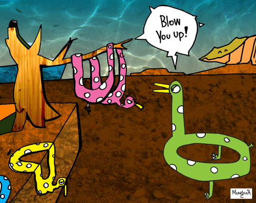 Cartoon: Blow you up! (medium) by Munguia tagged blow,dali,percistence,of,time,salvador,watch,soft,munguia,costa,rica