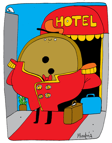 Cartoon: Botones (medium) by Munguia tagged botones,hotel,munguia,calcamunguias,lobby,hall