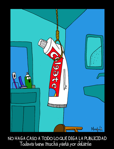 Cartoon: Colgate (medium) by Munguia tagged colgate,tie,hang,hung,hanging,up,suicide