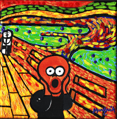 Cartoon: El Ne Grito (medium) by Munguia tagged scream,black,negrito,grito,edvard,munch,expresionismo,parodia,famous,paintings,parodies,cartoon,style