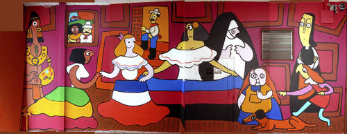 Cartoon: Meninas Parody Mural and More (medium) by Munguia tagged spanish,dog,dead,death,devil,mask,dress,typical,humour,painting,america,latinamerican,manners,francisco,munguia,diego,velazquez,rica,costa,mural,meninas