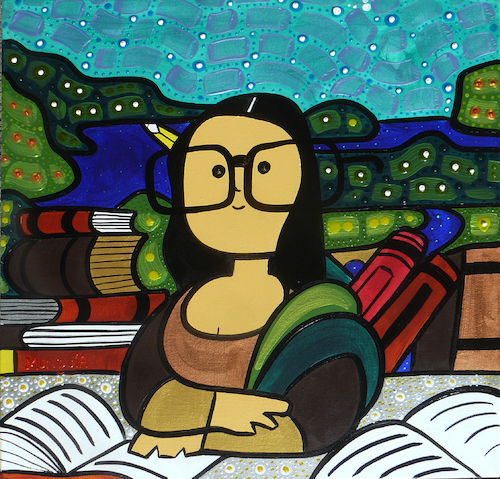 Cartoon: Mona Nerd (medium) by Munguia tagged famous,paintings,parodies,mona,lisa,la,gioconda,book,read,study,da,vinci,leonardo,glasses,anteojos