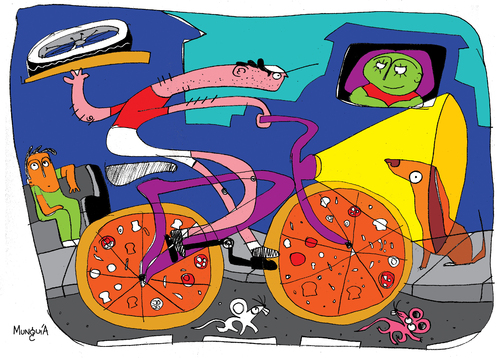 Cartoon: pizzicleta (medium) by Munguia tagged street,food,race,italian,pizza,munguia,cicle,bike,pizzapitch