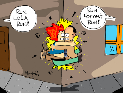 Cartoon: Run Lola Run Forrest Run! (medium) by Munguia tagged run,lola,forrest,gump,movies,crash,running,munguia,parodies,cinema,90s
