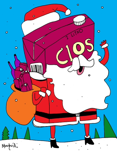 Cartoon: SanTa Clos (medium) by Munguia tagged clos,vino,wine,pirque,chile,claus,santa,santaclaus,colacho,drink,alcohol,xmas,christmas