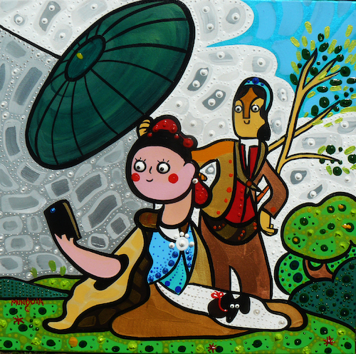 Cartoon: Selfie (medium) by Munguia tagged goya,parasol,parody,famous,paintings,celphone,self,photo