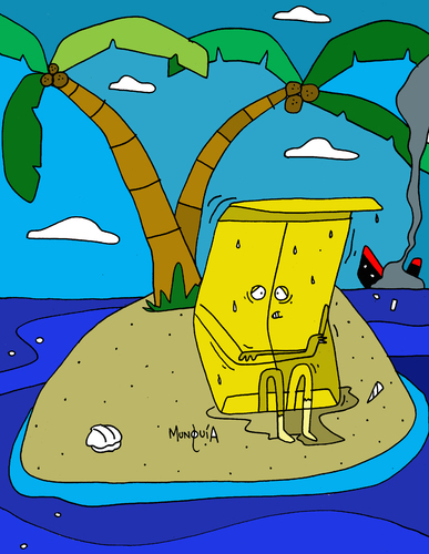 Cartoon: sobre viviente (medium) by Munguia tagged sobreviviente,island,survivor,sobre,isla,playa,munguia,naufrago,barco
