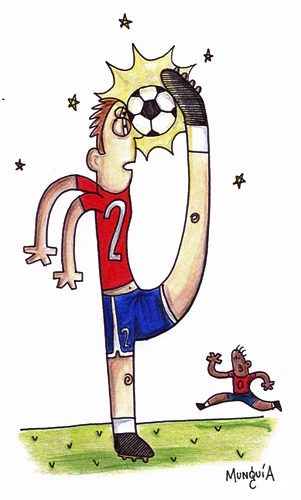 Cartoon: worst soccer player ever (medium) by Munguia tagged futball,soccer,world,cup,munguia,globo,ballon,ball,sports,mistake,wrong,foul,autofoul,silly
