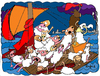 Cartoon: American Dream (small) by Munguia tagged de,la,croix,eugene,medusa,sheeps,american,dream,sail,boat,balsero