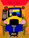 Cartoon: Be online (small) by Munguia tagged calcamunguia,online,line,in,linea,fat,computer,facebook,tech