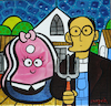 Cartoon: casado con chuleta (small) by Munguia tagged american,gothic,gotico,americano,grant,wood,parody,famous,paintings,meat