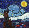 Cartoon: Cats Starry night (small) by Munguia tagged van,gogh,vincent,famous,paintings,parodies,paint,cat,kitty