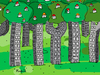 Cartoon: city Balance (small) by Munguia tagged building,city,wood,forrest,house