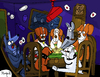 Cartoon: Dogs playing Ouija (small) by Munguia tagged cassius,marcellus,coolidge,friend,in,need,dogs,playing,poker,ouija,spooky,parody