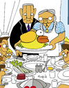 Cartoon: Flappy Thanksgivings (small) by Munguia tagged flappy,bird,thanksgivings,freedom,from,want,norman,rockwell,painting,parody