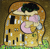 Cartoon: Grandmas kiss (small) by Munguia tagged the,kiss,gustav,klimt,beso,parody,parodia,famous,paintings,parodies,cute,spoof,version,funny