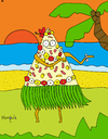 Cartoon: Hawaian pizza (small) by Munguia tagged pizzapitch,pizza,woman,sea,beach,isle,food,hawai,pineapple,ham,flowers,sand,dance