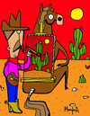 Cartoon: Horse Back Painting (small) by Munguia tagged caballete,caballo,munguia,costa,rica,horse,back,painting,pintura,pintor,pinter,picture,sunset,desert,cactus