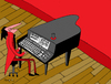 Cartoon: keyboardist (small) by Munguia tagged keyboard,piano,music,musician,pianist,stage,computer,digit,teclado,tecladista,munguia,costa,rica,humor,grafico,caricaturas,dibujos,arte,chiste