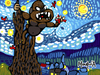 Cartoon: KIng Kong on the stary night (small) by Munguia tagged stary,night,vincent,van,gogh