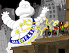 Cartoon: Michelin Vs Ghostbusters (small) by Munguia tagged michelin,ghostbusters,stay,puft,marshmellow,man,malvadisco,cazafantasmas,parodia,parody,spoof